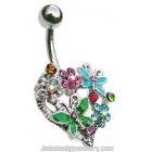 Belly Bar with Heart,Butterfly and Flowers