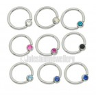 Ball Closure Rings 1.6mmx10mm  with jewelled ball