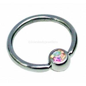 1.2mm x 10mm AB Jewelled Ball Closure Ring