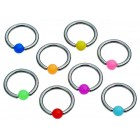 1.6mm x 10mm Ball Closure Ring with Bright Ball