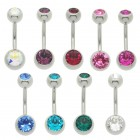 Double jewelled belly bars with large 6mm top balls