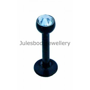 Black PVD Titanium Tragus Stud - Clear Jewel
