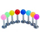 Labrets with Bright Acrylic Screw on Balls(1.6mm)