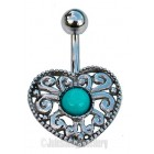 Heart Belly Bar with Blue Jewel