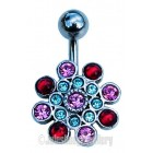 Belly Bar with Multi Jewelled Design