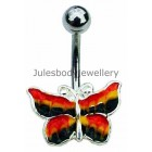 Butterfly Belly Bar - Coloured Enamel Design