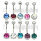 Single Jewelled belly bars-Surgical steel