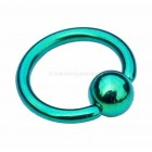 Titanium Ball Closure Ring BCR - Green