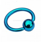 Titanium Ball Closure Ring BCR- Petrol Blue